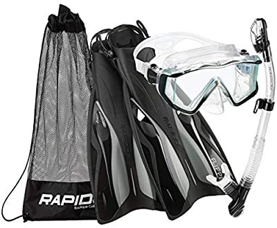 Phantom Aquatics Rapido Boutique Collection Clareza Three Window Tempered Glass Lens Mask Fin Snorkel Set with Snorkeling Gear Carry Bag