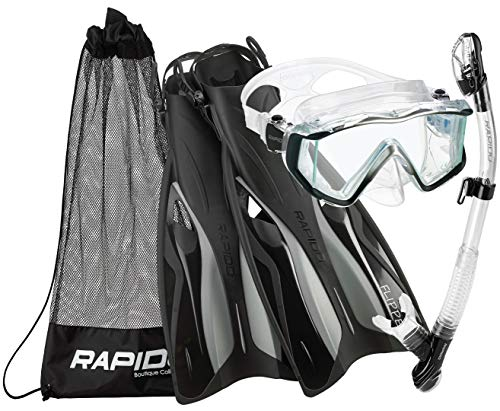 Phantom Aquatics Rapido Boutique Collection Clareza Three Window Tempered Glass Lens Mask Fin Snorkel Set with Snorkeling Gear Carry Bag, BK-LG