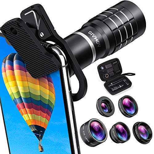 HD Cell Phone Camera Lens Kit 9 in 1, 18X Telephoto Lens, Wide Angle Lens, Macro Lens, Fisheye Lens,...