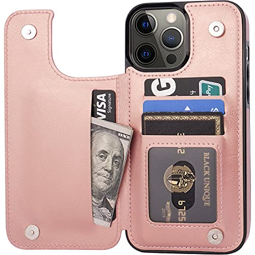 """Cardpakee for iPhone 13 Pro Max Wallet Case with Card Holder, Faux Leather Kickstand Card Slot Case, Handmade RFID Blocking Magnetic Shockproof Protective Slim Back Flip Phone Case 2021 6.7"""" Rose Gold"""