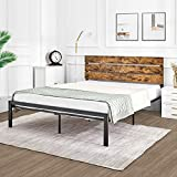 Kealive Queen Size Bed Frame with Wooden Headboard, Country Rustic Style Platform Metal Bed Frame,Mattress Foundation,Strong Slat Support,No Box Spring Needed