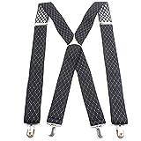 Hually Tirantes para hombres forma, 4x clips en forma de X, elástico y longitud ajustable, diferentes estilos, anchos 3,5 cm Uno cabe todos