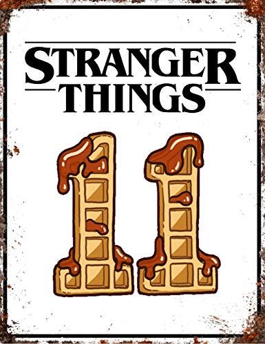Stranger Things 1 2 3 TV Show Inspirado Placa de Pared Decorativa Lata para Pared hogar Oficina Bar Café Tienda Pub Shed Man Cave Póster Metal Sign – Eleven 11 Eggo