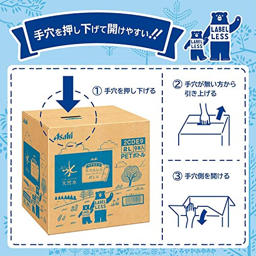 『[Amazon限定ブランド] #like アサヒ おいしい水 天然水 ラベルレスボトル 2L×9本』の4枚目の画像