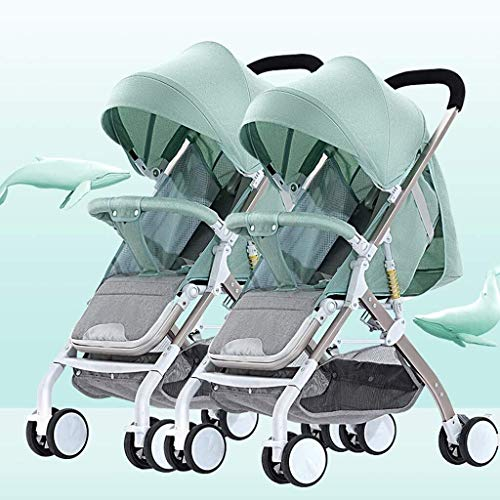 Read About ZXCVB Double Baby Stroller, with Side by Side Twin Seats,Double Toddler Baby Pram with Ba...