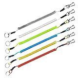 Booms Fishing T4 スパイラルコード ワイヤー入り尻手ロープ 最大伸び1500mm 六色セット