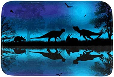 EGGDIOQ Doormats Dinosaurs Silhouettes at Blue Night Near Water Custom Print Bathroom Mat Waterproof Fabric Kitchen Entrance