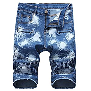 Men's Casual Denim Shorts Classic Fit Ripped Jeans Biker Shorts