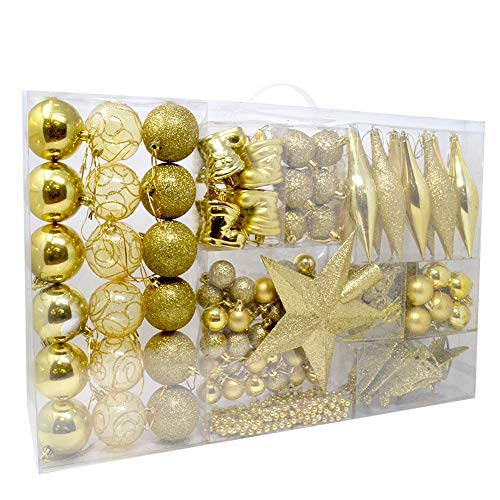 BAKAJI Addobbi per Albero di Natale 102 Pezzi Confezione Palline Calze Stelle Pigne Decorazioni Natalizie (Oro)