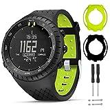 T-BLUER Watch Band Compatible for Suunto Core Correa,Accesorio de Pulsera de Correa de Repuesto de Silicona y Funda Protectora de Cubierta Completa para Suunto Core Smart Watch,Negro Verde