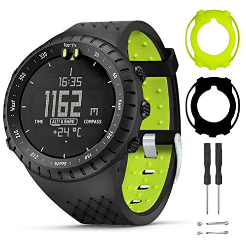 T-BLUER Watch Band Compatible for Suunto Core Bracelet,Bracelet de Remplacement en Silicone et étui de Protection Complet pour la Montre Intelligente Suunto Core,Noir Vert
