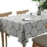 meioro Grey Retro Tischdecke Rechteckige Tischdecken Baumwolle Leinen Tischtuch Geeignet für Home Küche Dekoration Tischtuch Tischwäsche, Verschiedene Größen(140 x 220 cm)
