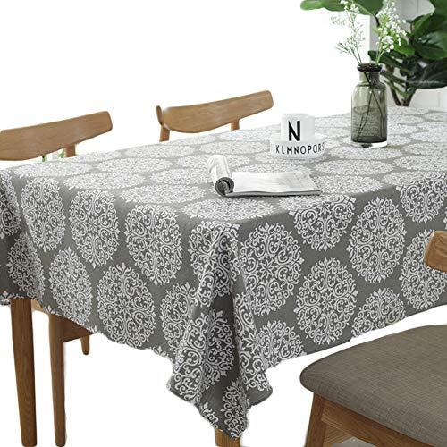 Meiosuns Grey Retro Tischdecke Rechteckige Tischdecke Baumwolle Leinen Tischdecke Geeignet für Home Küche Dekoration, Verschiedene Größen (140 x 200 cm)
