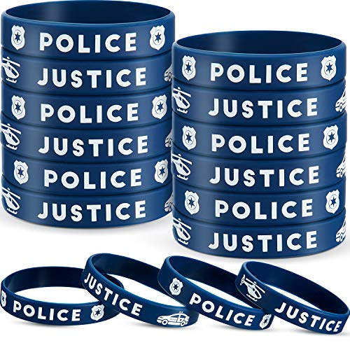 SATINIOR Police Party Favors Police Silicone Rubber Bracelets Wristbands for Police Themed Birthday Party Police Graduation Party Decorations (36)