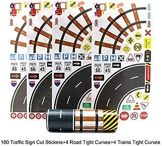 Manzawa Road Tape for Toy Car & Trains,3 Tape Rolls, Bonus 160TrafficSignDie CutStickers, 4RoadTightCurves and 4Tr...