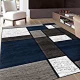 Rugshop Contemporary Modern Boxes Area Rug 5' 3' x 7' 3' Navy