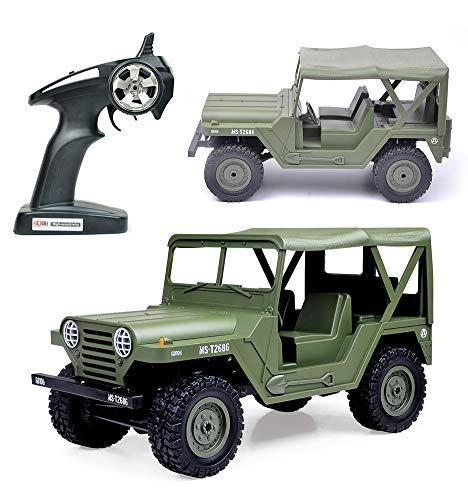 Carrito eléctrico de carreras, mini militar para Jeep todoterreno, juguete de vehículo de roca 1:14 2.4G 4WD 15 km/h, control remoto RTR para adultos y niños, color verde