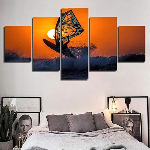 HHXXTTXS Cuadro en LienzoImpresión de 5 Piezas Atardecer Windsurf Material Tejido no Tejido Impresión Artística Imagen Gráfica Decoracion de Pared