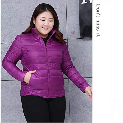 ELEAMO Ms. grote werven Ms. oversized jas dames winter jas donsjack opvouwbare obesitas ultra-lichtgewicht effen kleur rits warm donsjack L-8XL