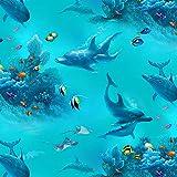 Elizabeth's Studio Ozean-Delfin-Stoff – ELI19 Delfine,