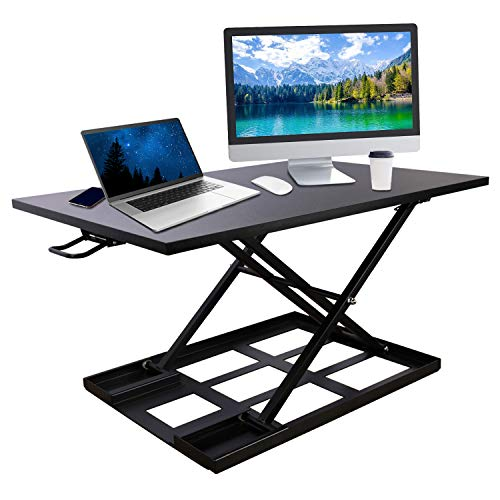 Standing Desk Converter, 32''X22'' Laptop Computer Workstation with Fully Assembled, Height Adjustable Sit to Stand Up Desk Ergonomic Air Riser Large Rising for Home and Office