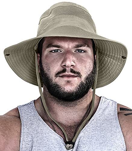 GearTOP Fishing Hat and Safari Cap with Sun Protection | Premium UPF 50+ Hats for Men and Women - Navigator Series (Khaki, 7-7...