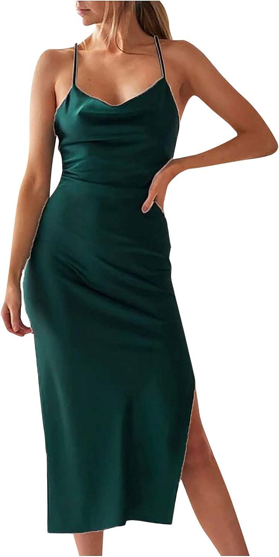 Cocktail Beach Evening Party Dress for Women Cowl Neck Sleeveless Spaghetti Strap Satin Slit Midi Bodycon Dress