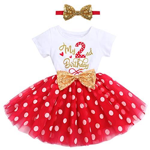 FYMNSI - Vestito da principessa, a maniche corte, 1 o 2 anni, per primo secondo compleanno, serate, in tulle, per 1-2 anni, Rosso, il mio 2° compleanno, 2 Anni