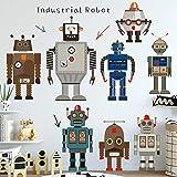 Rgdrh Pegatinas De Pared Robots Industriales De Dibujos Animados 85X90Cm Extraíble Pegatinas De Pared Arte Murales Etiqueta Vinilo Dormitorio Sala De Estar Vivero Decoración Para El Hogar
