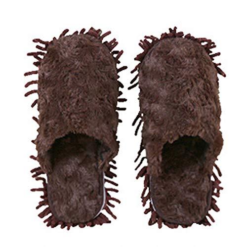 KCCCC Zapatillas de trapeador 2 Pares de Zapatillas Unisex Limpieza de Piso Mop House Slippers Limpieza de Polvo Slipper para Hombres Zapatillas de Limpieza de Piso (Color : Brown, Size : Medium)