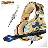 Camo Gaming Headsets with 360°MIC,Gaming Headphones for Xbox One PS4 PC,Pro 50mm Driver Stereo Surround Sound &LED Light for Nintendo Switch Mac Laptop (Camouflage)
