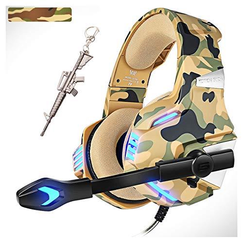 Auriculares de camuflaje para juegos con micrófono de 360º, auriculares para juegos para Xbox One PS4 PC, Pro 50 mm, sonido envolvente estéreo y luz LED para Nintendo Switch Mac Laptop (camuflaje)
