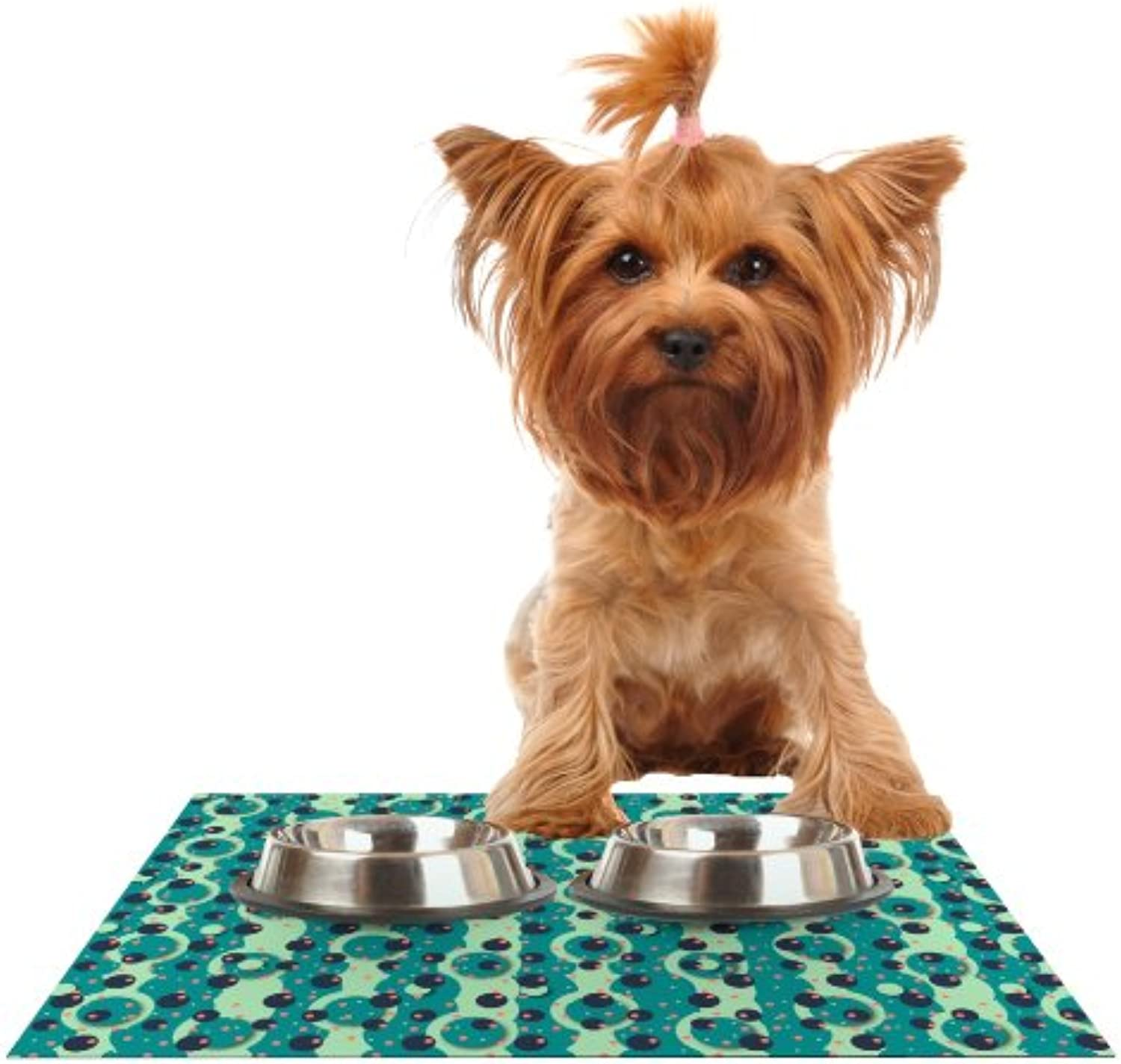 Kess InHouse Akwaflorell Bubbles Made of Paper  Feeding Mat for Pet Bowl, 18 by 13Inch