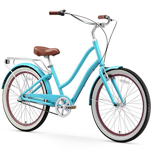sixthreezero EVRYjourney Women's 3-Speed Step-Through Hybrid Cruiser Bicycle, 26' Wheels with 17.5' Frame, Teal with Brown Seat and Grips