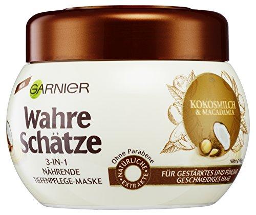 Garnier Wahre Schätze 3-in-1 Nährende Tiefenpflege-Maske, mit Kokosnuss und Macadamia, 3er-Pack (3...
