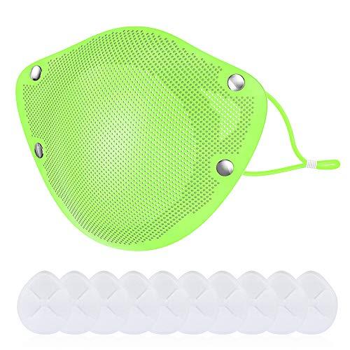 Protections faciales en silicone réutilisables avec support de filtre de remplacement 10pc 2 pour intérieur et extérieur