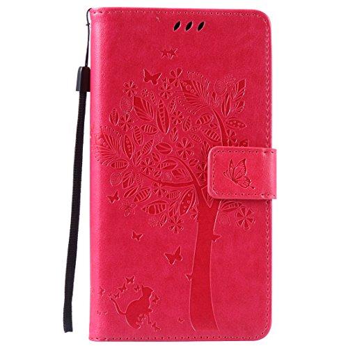 Nancen Compatible with Handyhülle Huawei Honor 4X (5,5 Zoll) Flip Schutzhülle Zubehör Lederhülle mit Silikon Back Cover PU Leder Handytasche im Bookstyle Stand Funktion Kartenfächer
