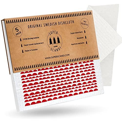 SUPERSCANDI Swedish - Paños de limpieza reutilizables biodegradables de celulosa para paños de cocina (5 unidades, diseño de luna), color rojo