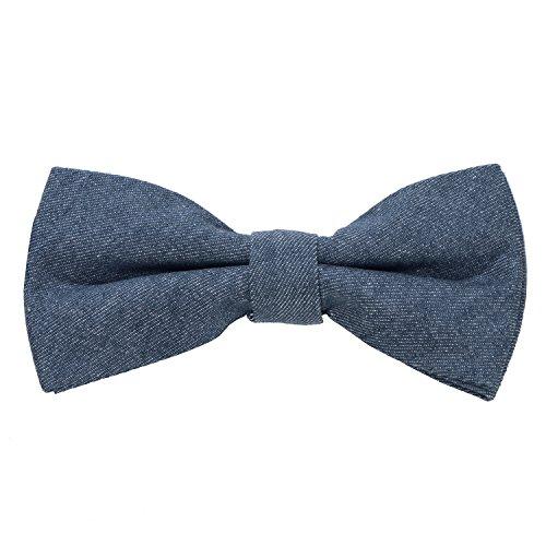 DonDon Herren Jeans Fliege Schleife gebunden 100% Baumwolle blau