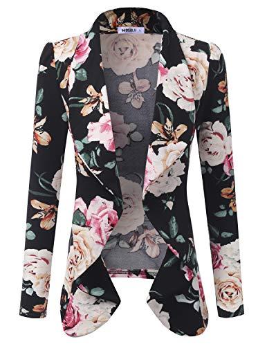 Doublju Classic Draped Open Front Blazer for Women with Plus Size BLACKIVORY Small