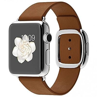 Apple Watch 38mm Stainless Steel Case Brown Modern Buckle