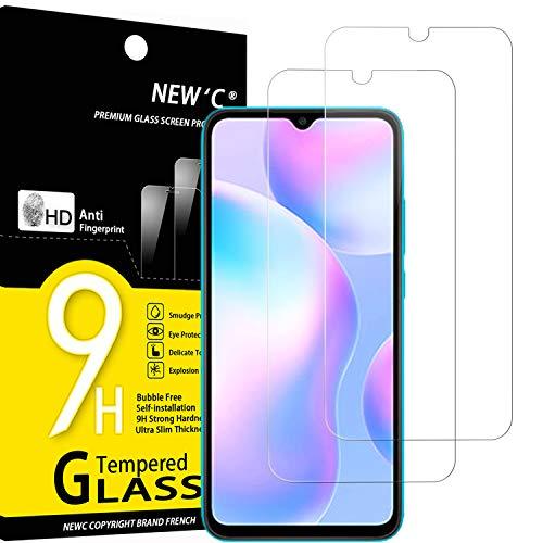 NEW'C 2 Stück, Schutzfolie Panzerglas für Xiaomi Redmi 9A, Xiaomi Redmi 9C, Frei von Kratzern, 9H Festigkeit, HD Bildschirmschutzfolie, 0.33mm Ultra-klar, Ultrawiderstandsfähig