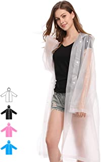 Reusable Raincoat for Adults Size 45.2 by 24.8 Non-Toxic EVA Portable Ponchos with Hood and Sleeves Lightweight Rain Coats for Outdoors Activities