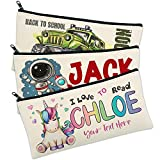 Personalized Pencil Case for Girls & Boys w/ Name & Text - Customized Student/Kids Pencils Pouch/Box Gift - Custom Back to School Supplies Pen Cases Makeup Organizer Zipper Bag - Christmas Gifts C1