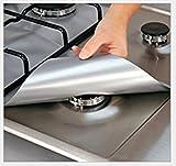 Lanlan- Lot de 4housses de protection pour feux à gaz, réutilisables, revêtement anti-adhésif, lavables au lave-vaisselle, feuilles de protection pour poêle 24pz