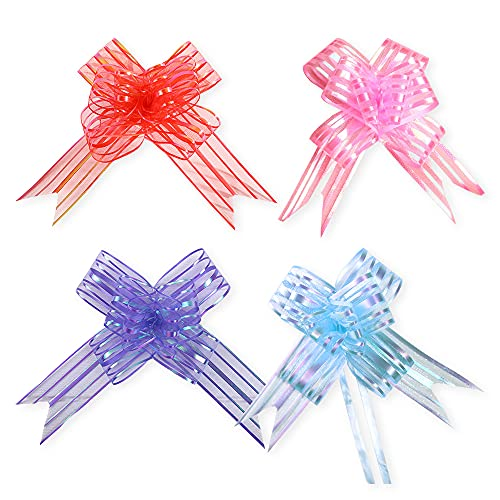 Gift Wrapping Pull Bows,40pcs Large Organza Pulled Bow Ribbon Pull Bows Present String Wrapping Decorative Bows for Gift Wrapping Hampers Flower Present Wedding Birthday Bouquet Car Decoration