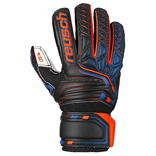 Reusch Attrakt SD Open Cuff Finger Support Niño, Guante de Portero, Black-Shocking Orange-Deep Blue, Talla 5
