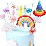 N/U Arcobaleno - Decoración para tarta de cumpleaños, decoración de tartas, nube y arcoíris - Kit de decoración para niños y niñas - 9 unidades + 1 sombrero de cumpleaños