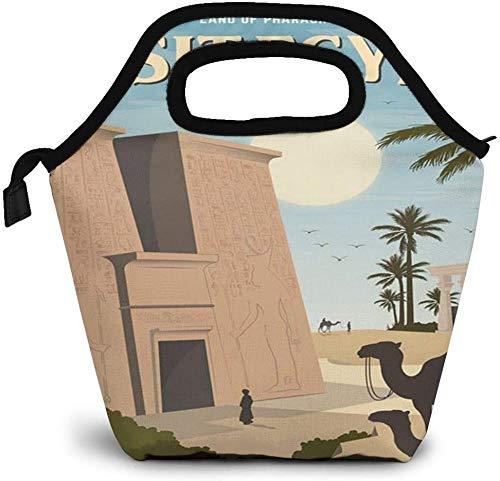 Egypt Vintage Travel Art Exotic Land of Pharaohs Insulated Lunch Bag Custom Bento Box Picnic Cooler Portable Handbag Lunch Tote Bag for Women Girl Men Boy