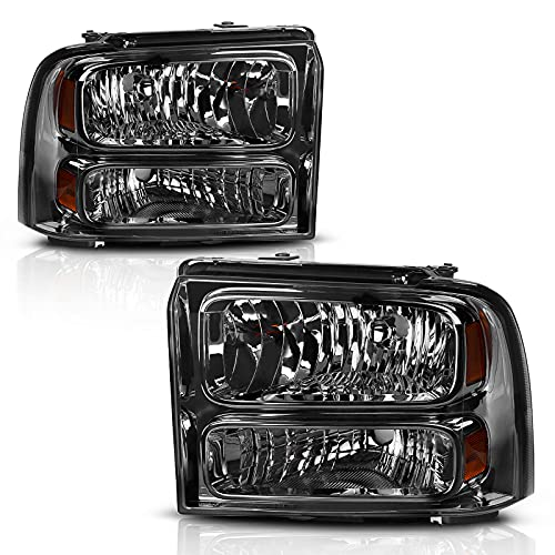 AUTOSAVER88 Headlight Assembly Compatible with 2005 2006 2007 Ford F250 F350 F450 F550 Super Duty / 2005 Ford Excursion OE Headlamp Replacement Chrome Housing